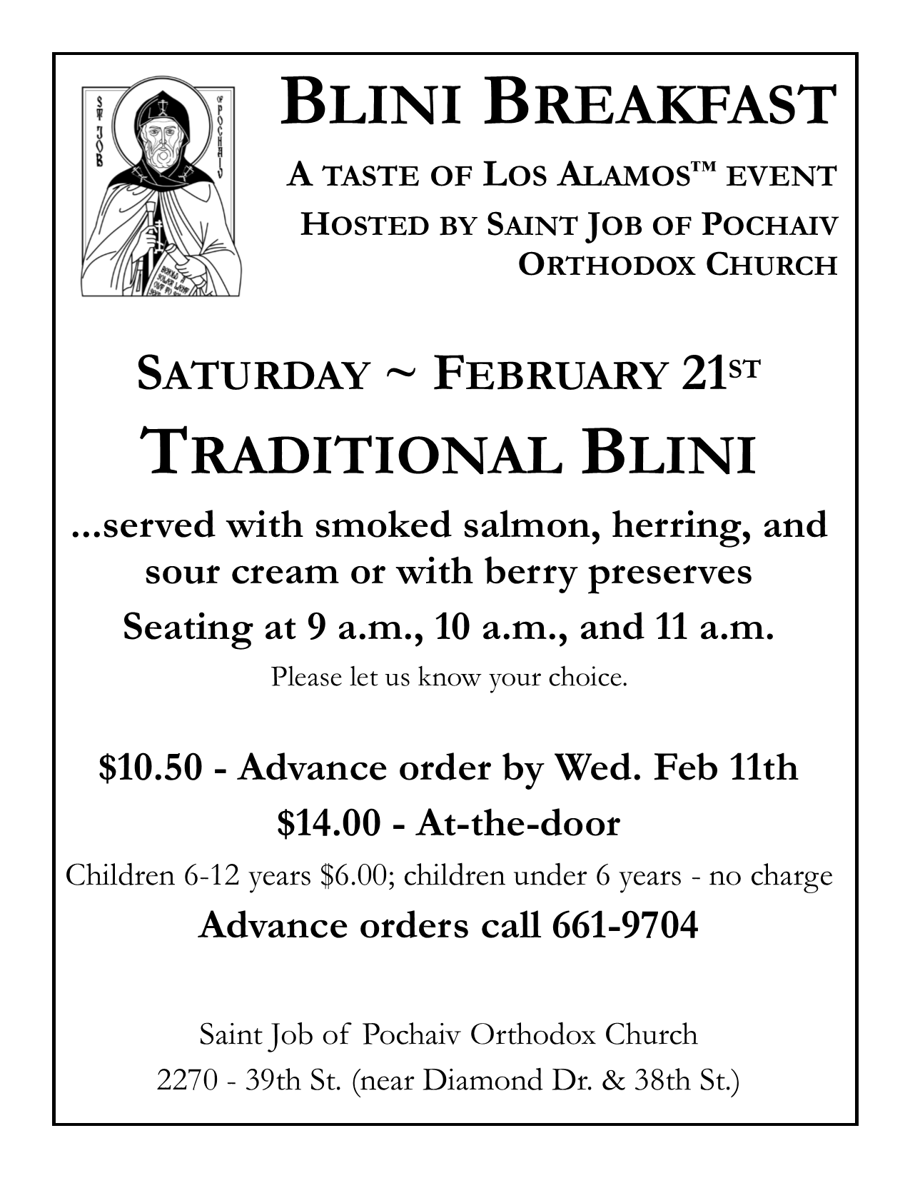 To pre-order by email, request your tickets at blini@stjobla.org